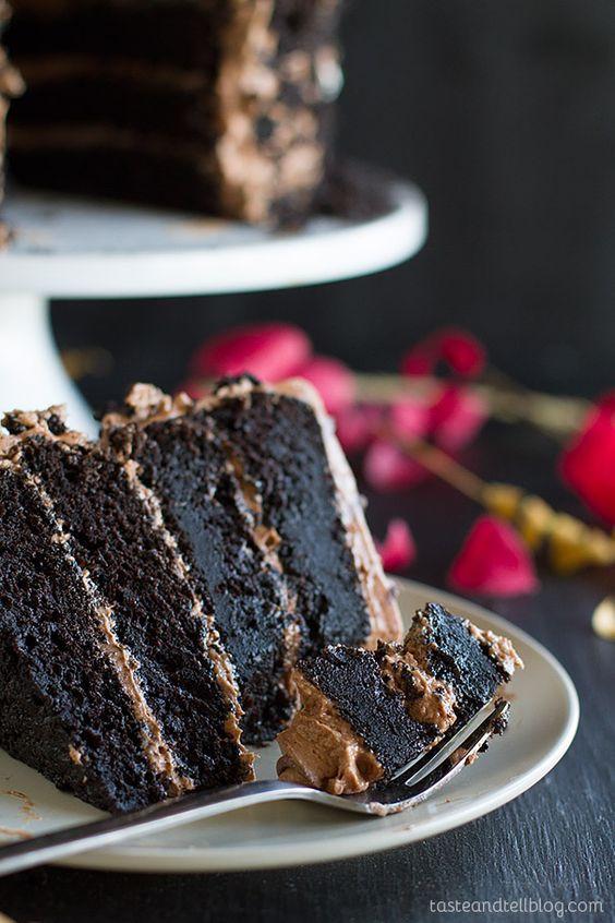 Dark Chocolate Cake Recipe  Dark Chocolate Cake with Nutella Buttercream