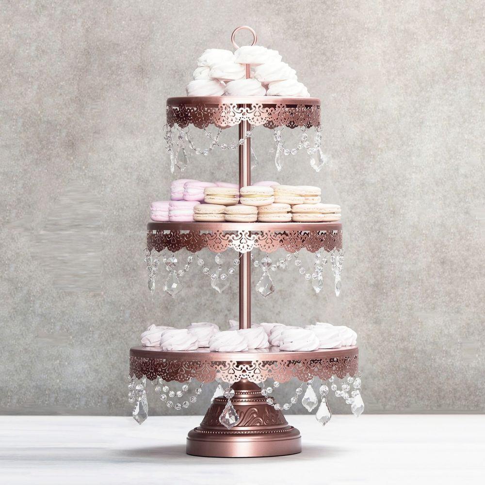 Dessert Display Stands  3 TIER CUPCAKE STAND Crystal Metal Round Wedding Display