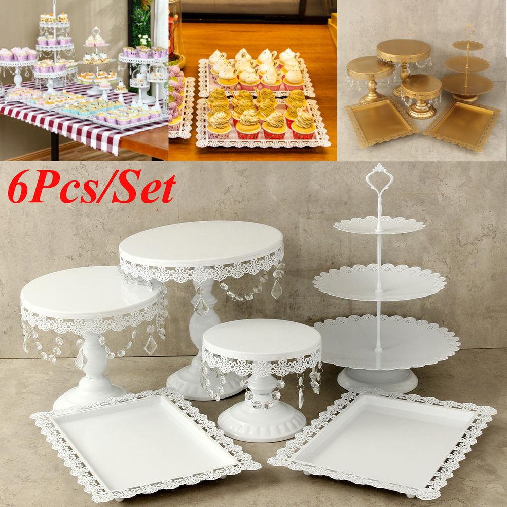 Dessert Display Stands  6Pc Set White Gold Crystal Cake Stand Display Dessert