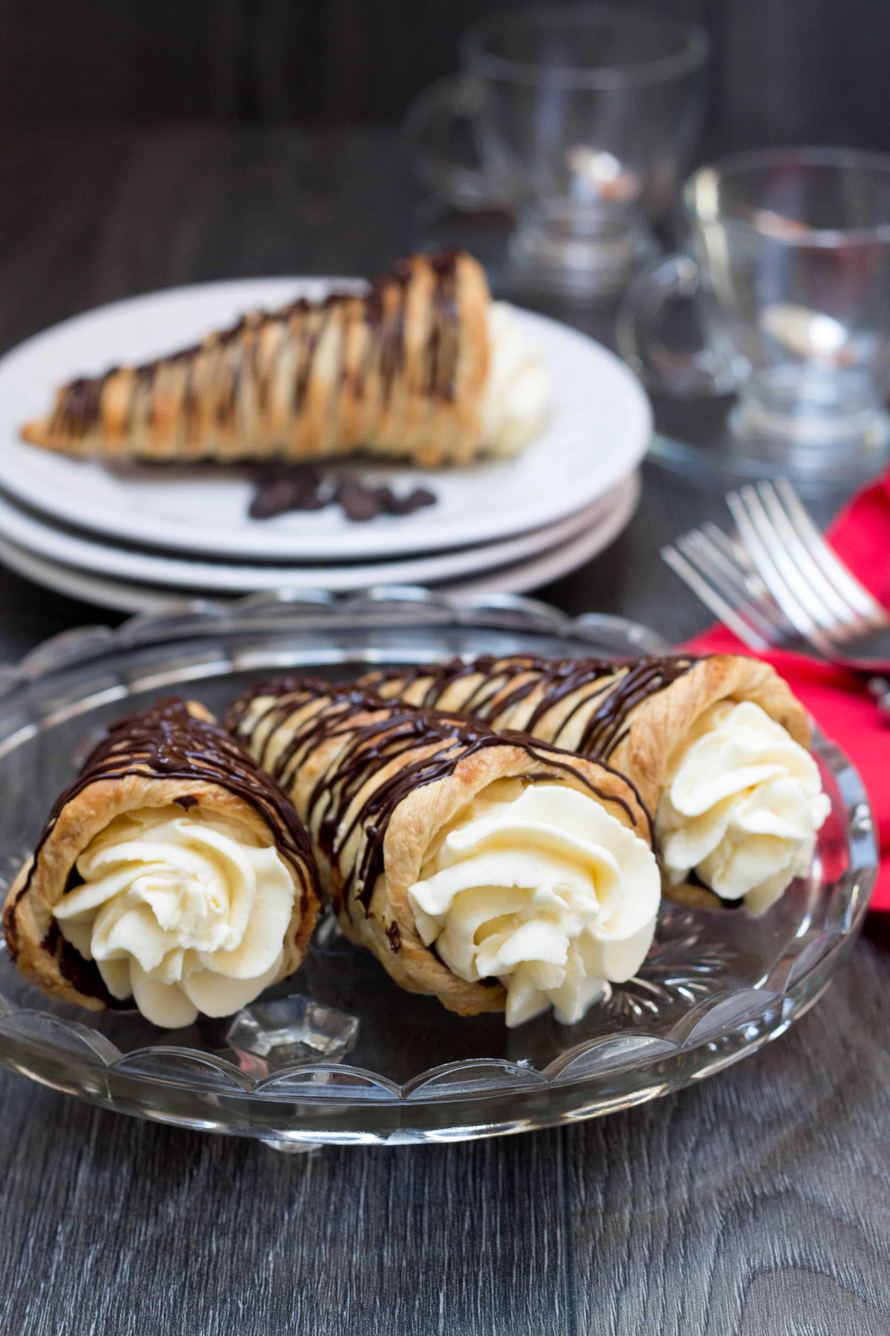 Dessert Recipes With Puff Pastry  Dark Chocolate Cream Horns Erren s Kitchen