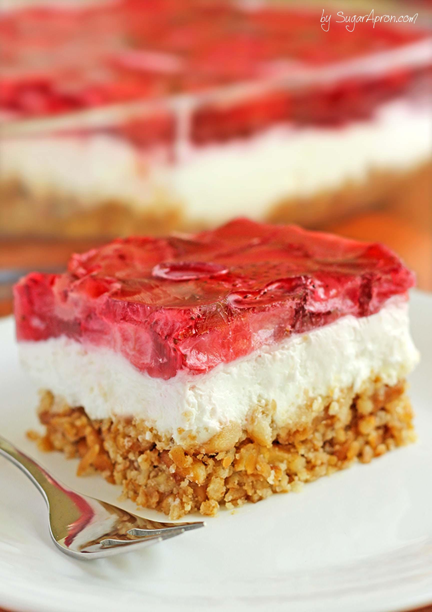 Dessert With Strawberries  Strawberry Pretzel Dessert Sugar Apron