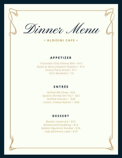 Dinner Menu Template  Cream and Blue Fancy Border Dinner Menu Templates by Canva