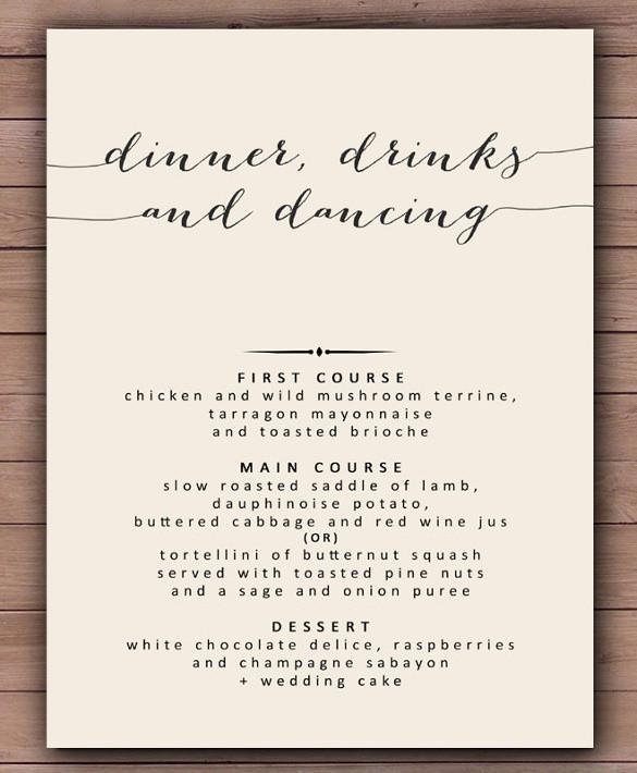 Dinner Menu Template  30 Dinner Menu Templates PSD Word AI Illustrator