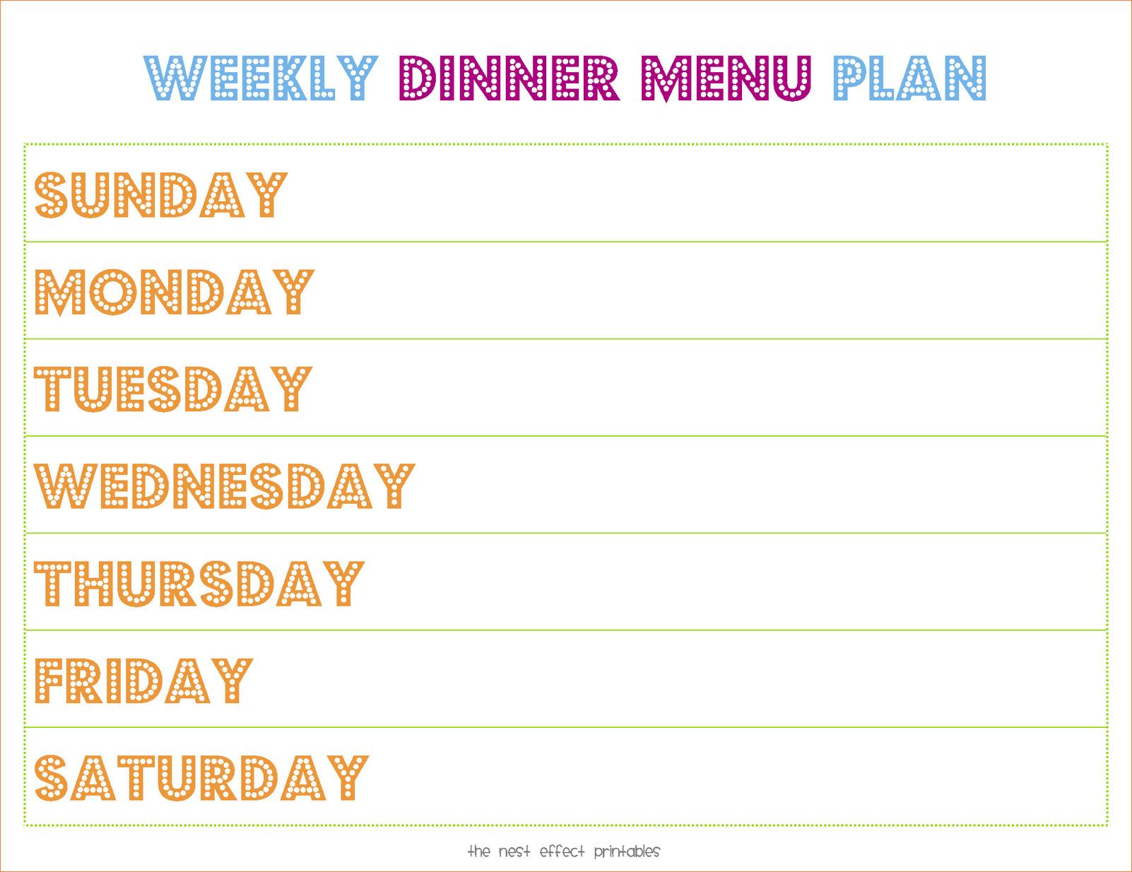 Dinner Menu Template  5 weekly dinner menu template