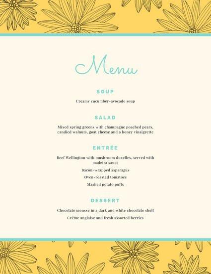 Dinner Menu Template  Customize 404 Dinner Party Menu templates online Canva