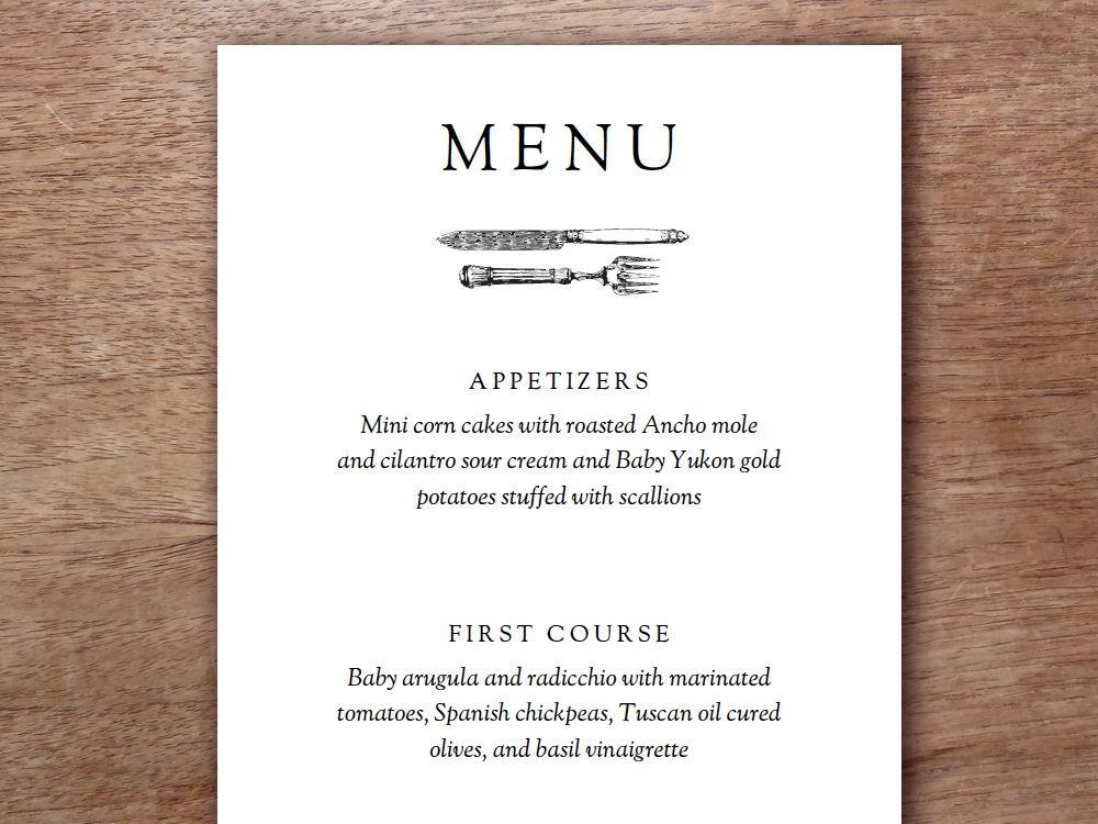 Dinner Menu Template  Printable Menu Kate & Wills