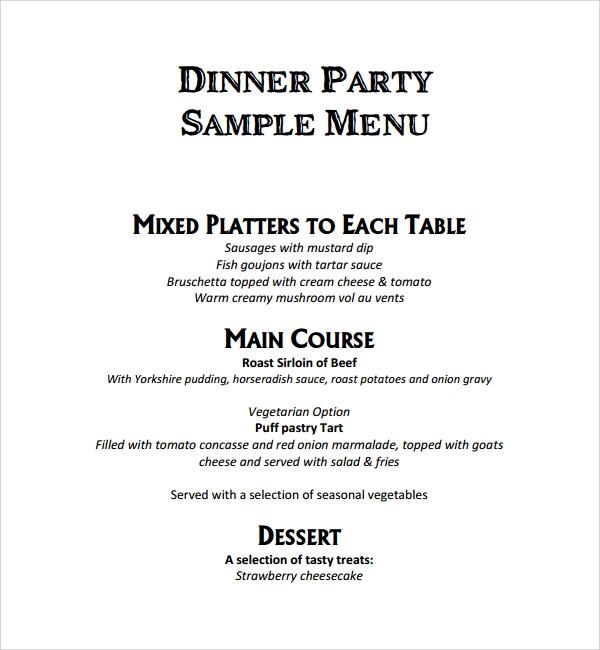 Dinner Menu Template  9 Event Menu Templates