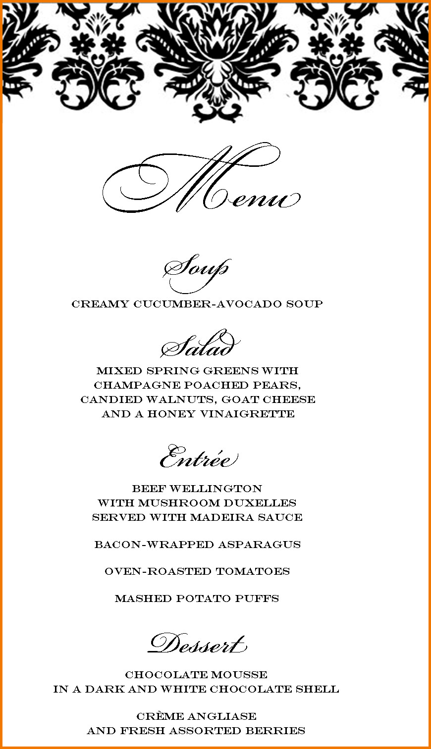 Dinner Menu Template  Dinner party menu template