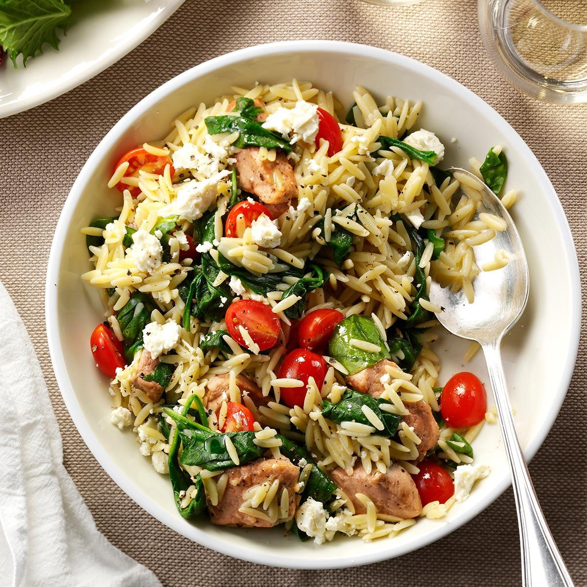 Dinner Recipes Healthy  Mediterranean Pork and Orzo Recipe