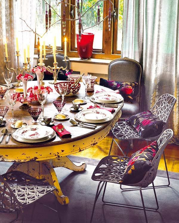 Dinner Table Decorating  39 Original Boho Chic Dining Room Designs