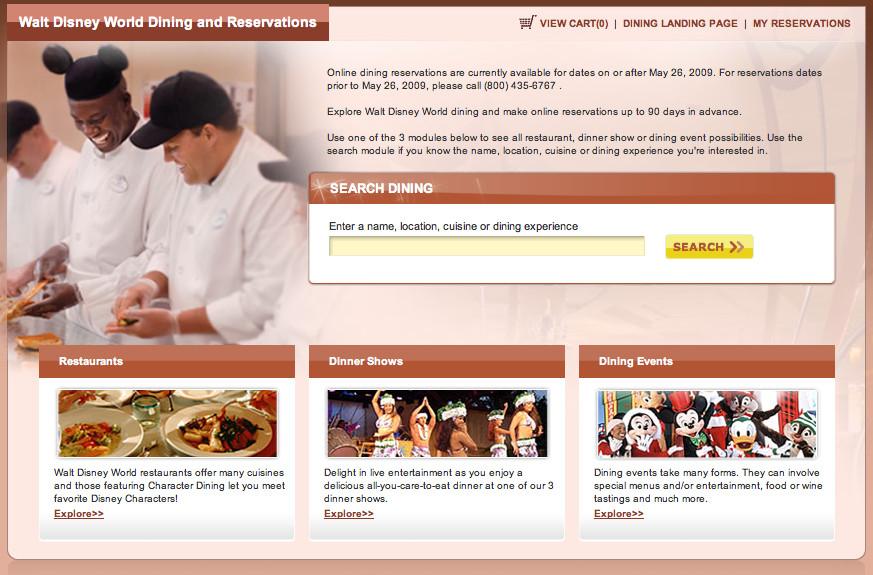 Disney Dinner Reservations  Disney World line Dining Reservation System