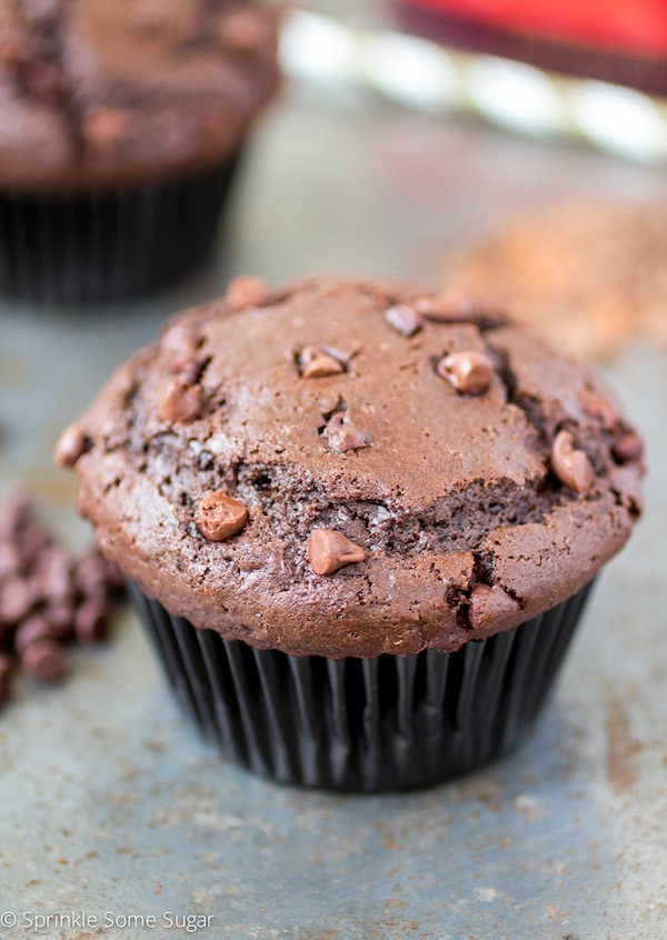Double Chocolate Chip Muffins  Fudgy Double Chocolate Chip Muffins Sprinkle Some Sugar