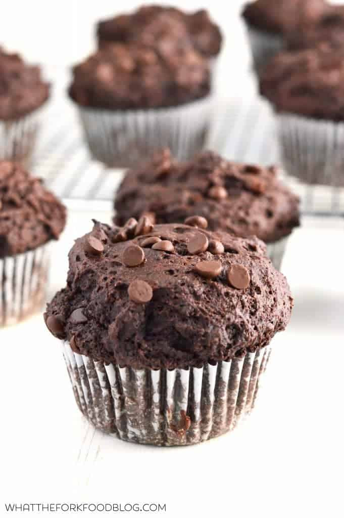 Double Chocolate Chip Muffins  Bakery Style Double Chocolate Chip Muffins What the Fork