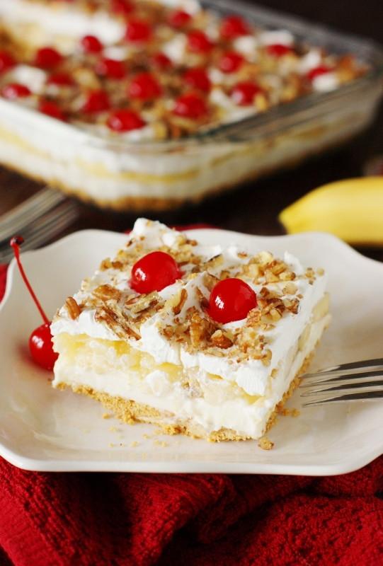 Easy Banana Desserts No Bake  No Bake Banana Split Cake