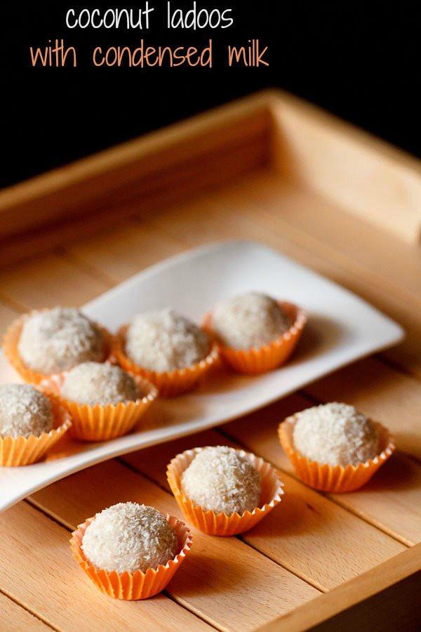 Easy Dessert Recipes With Condensed Milk  coconut ladoo recipe with condensed milk