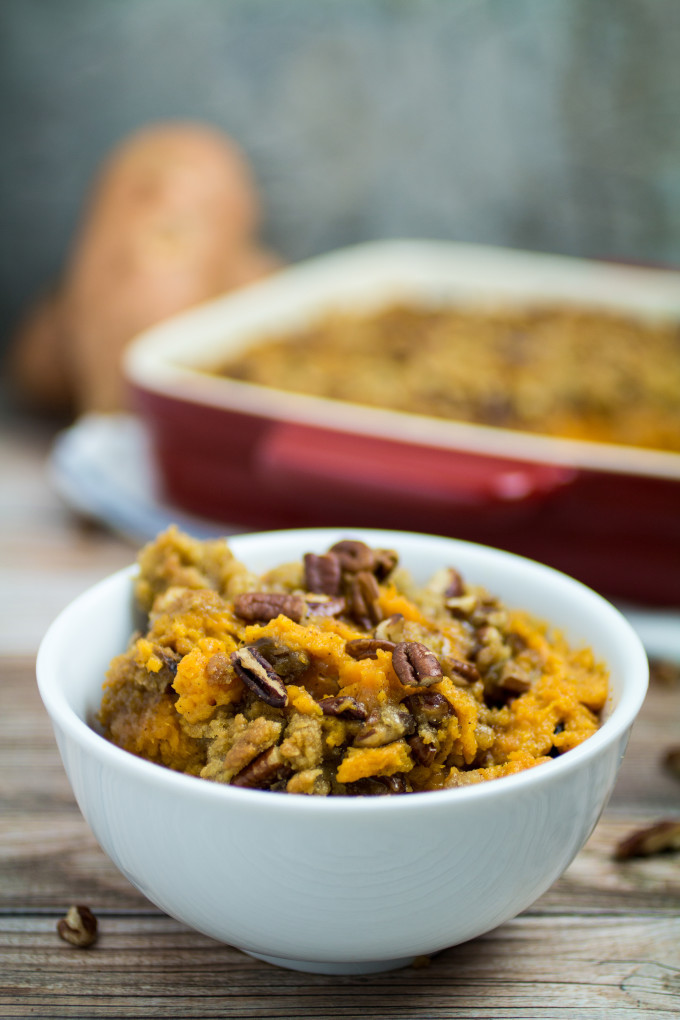 Easy Sweet Potato Casserole  Easy Sweet Potato Casserole with Pecan Crumble Topping