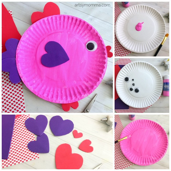 Easy Valentine'S Day Desserts  Paper Plate Valentine 039 s Day Fish With Heart Shapes