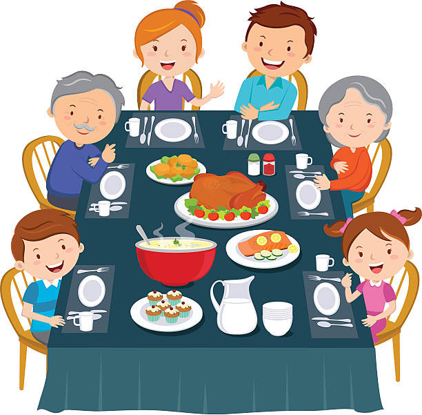 Eating Dinner Clipart  family eating clipart a couple eating dinner clipart 7
