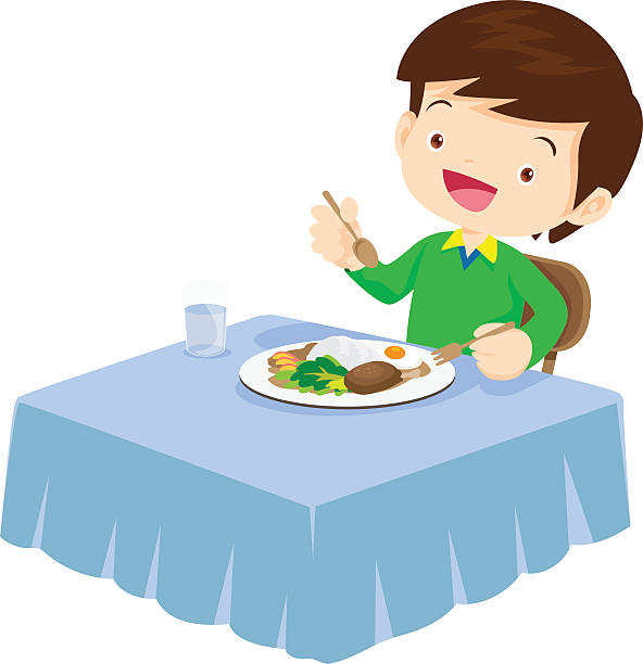Eating Dinner Clipart  Royalty Free Boy Eating Lunch Clip Art Vector