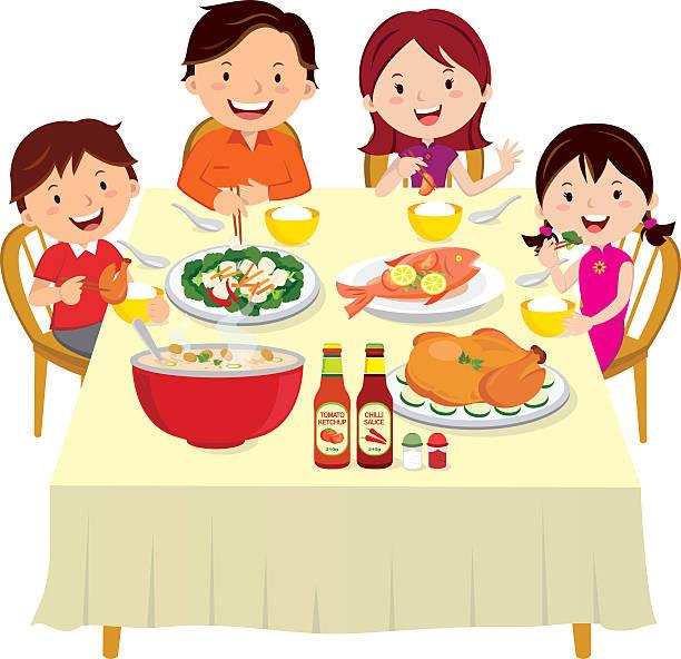 Eating Dinner Clipart  Royalty Free Dinner Table Clip Art Vector