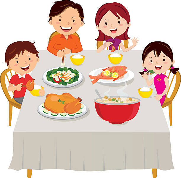 Eating Dinner Clipart  Royalty Free Family Eating To her Clip Art Vector