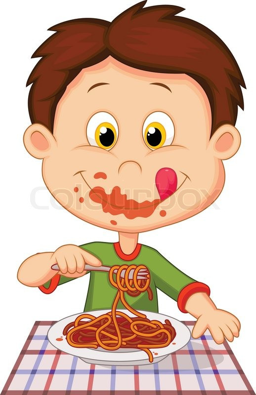 Eating Dinner Clipart  Vector illustration of Cartoon boy