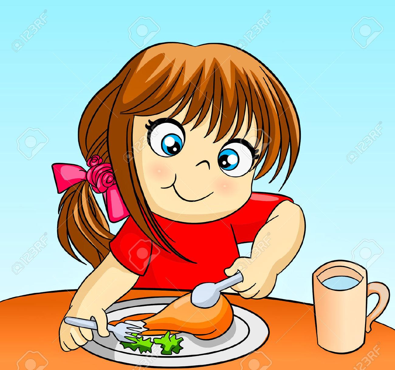Eating Dinner Clipart  Girl Eating Dinner Clipart