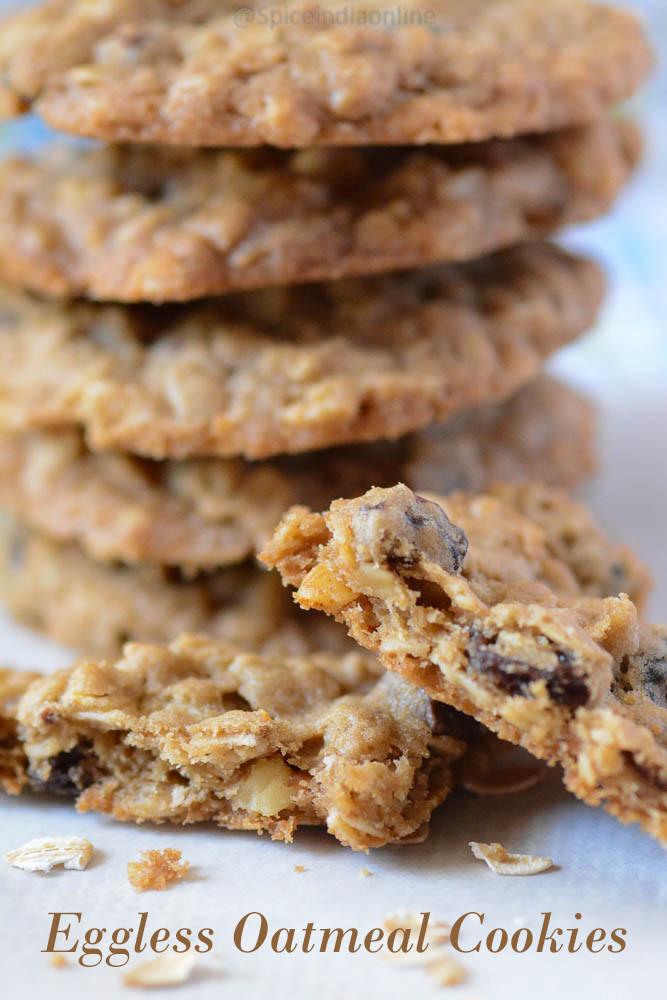 Eggless Oatmeal Cookies  EGGLESS OATMEAL COOKIES — Spiceindiaonline