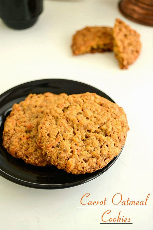Eggless Oatmeal Cookies  Spicy Treats Carrot Oatmeal Cookies Eggless Carrot