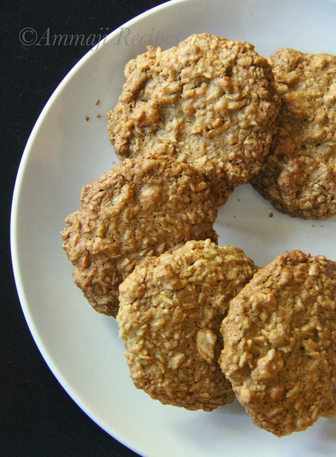 Eggless Oatmeal Cookies  Eggless Cashew Oatmeal Cookies