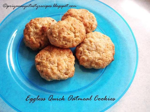 Eggless Oatmeal Cookies  Priya s Versatile Recipes Eggless Quick Oatmeal Cookies