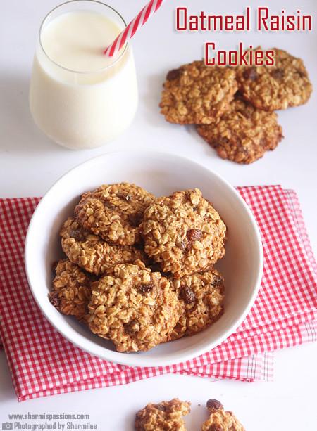 Eggless Oatmeal Cookies  Eggless Oatmeal Raisin Cookies Recipe Sharmis Passions