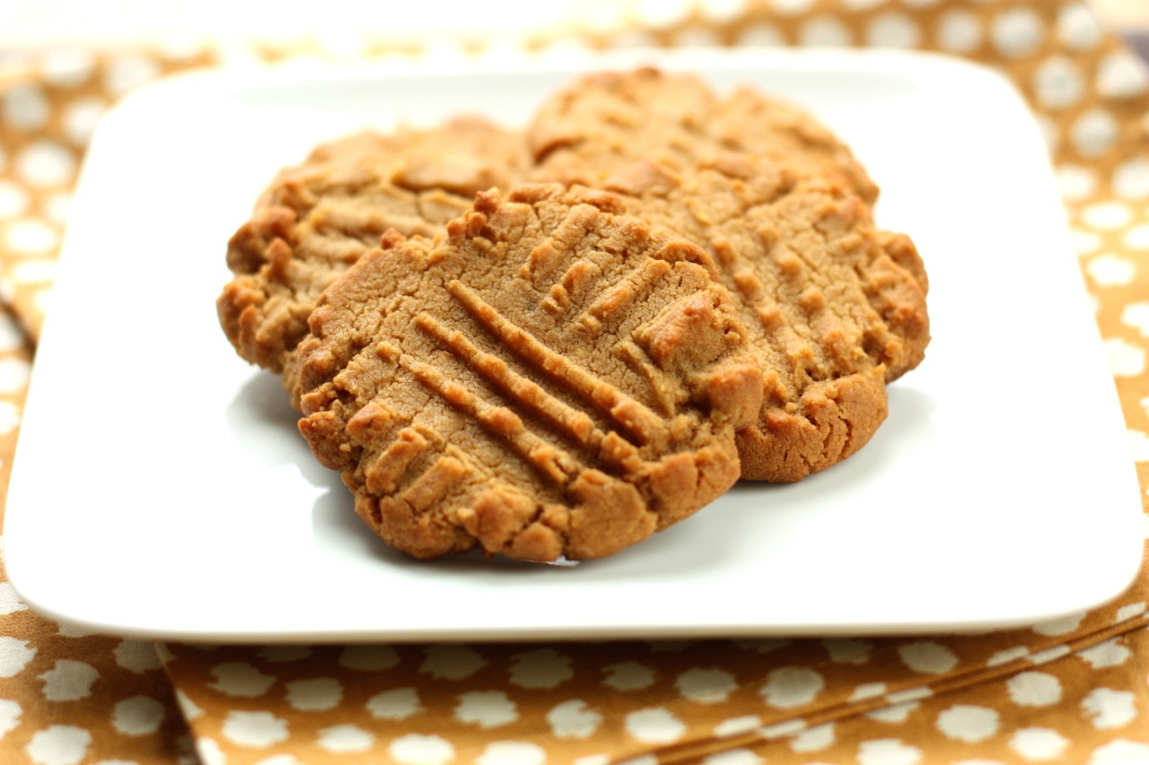 Flourless Peanut Butter Cookies  flourless peanut butter and jelly thumbprint cookies