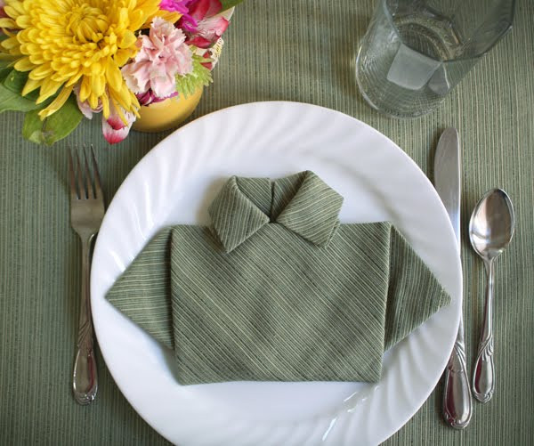 Folded Dinner Napkin  Fold a napkin shirt for Father s Day