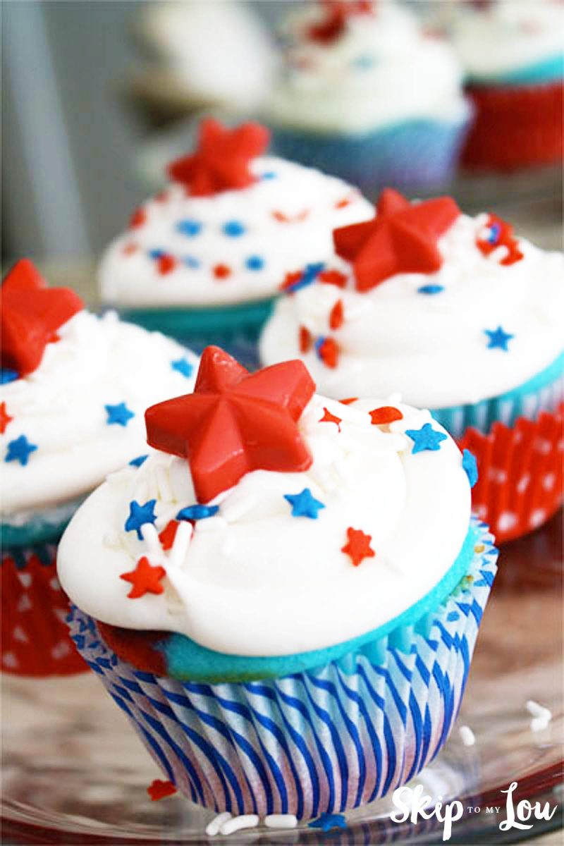 Fourth Of July Cupcakes  Red White and Blue Cupcakes With Candy Star Cupcake Toppers