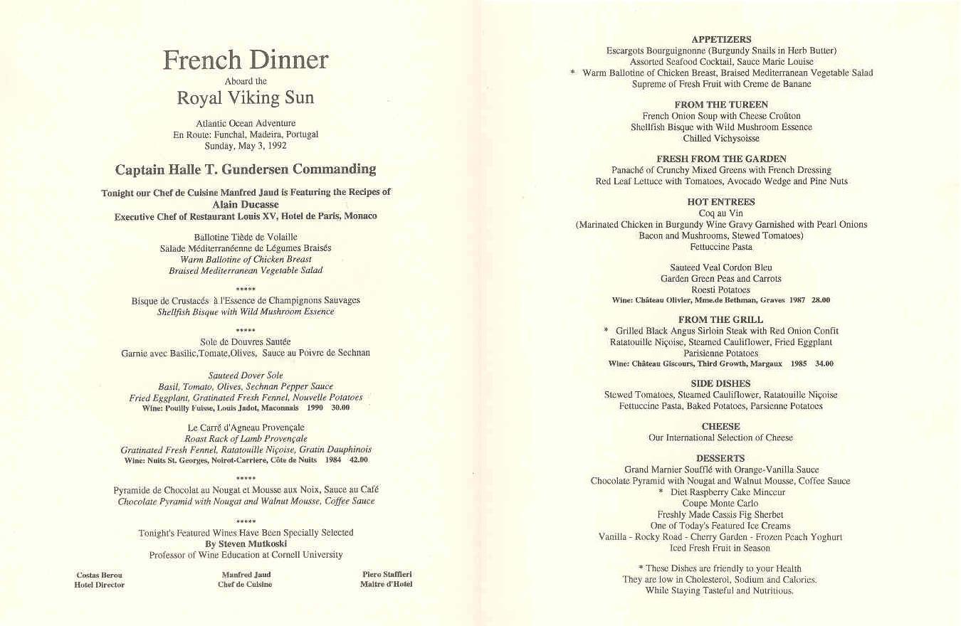 French Dinner Menu  Grandeur of the Seas Gallery