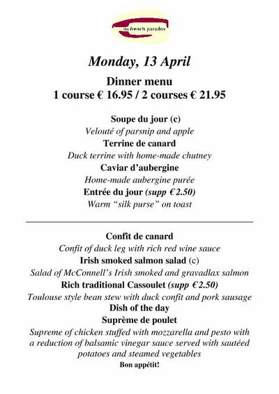 French Dinner Menu  Menus Wine bar French Tapas The French Paradox Dublin