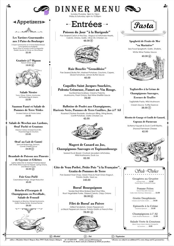 French Dinner Menu  Yeast French Cuisine for Dinner Bangsar Malaysia The