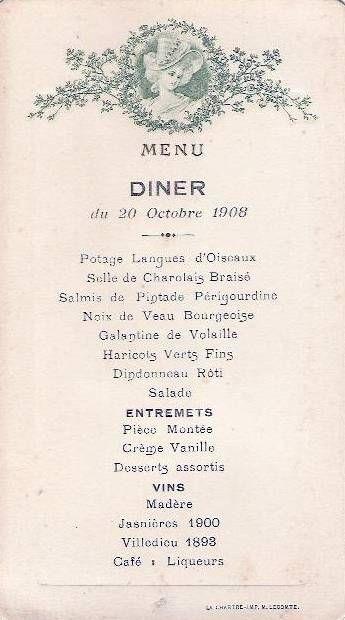 French Dinner Menu  1908 French dinner menu