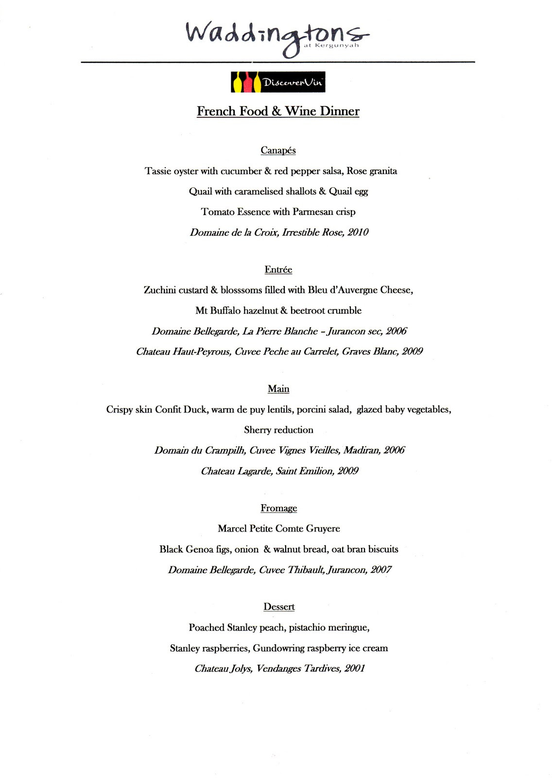 French Dinner Menu  DiscoverVin French Food & Wine Dinner at Waddingtons of