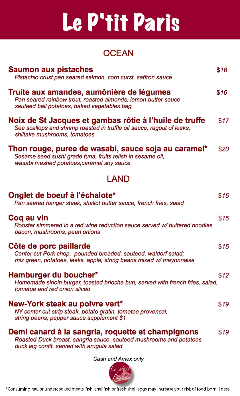 French Dinner Menu  First Look at Le P'tit Paris a French Bistro for Windsor