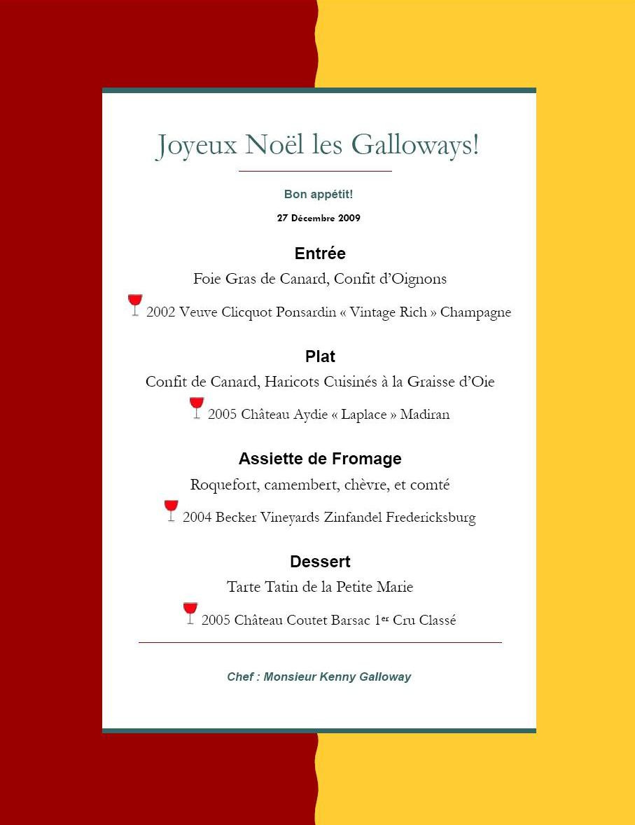 French Dinner Menu  Merry Christmas Galloways – 4 Course French Dinner