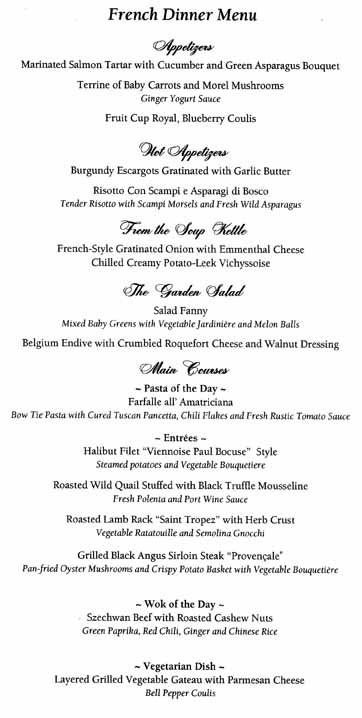 French Dinner Menu  To Oceania Cruises Menus Homepage
