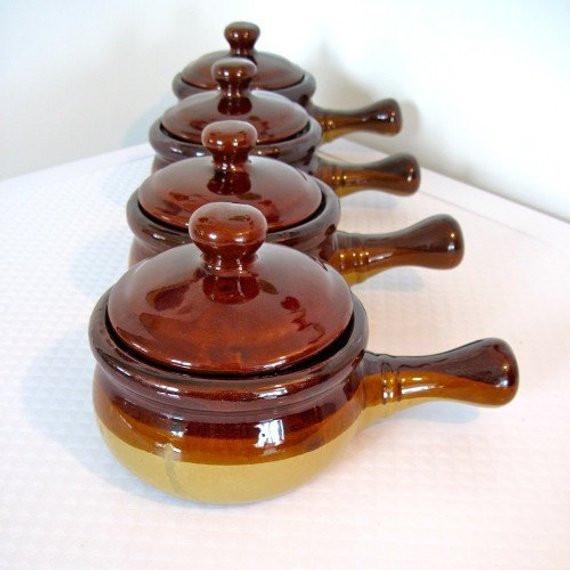 French Onion Soup Bowls  French ion Soup Bowls Brown Glazed w Lids 1970s Vintage Set