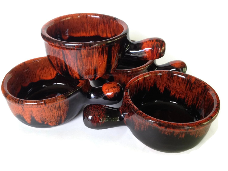 French Onion Soup Bowls  French ion Soup Bowls Drip Glaze Pottery Crocks Evangeline