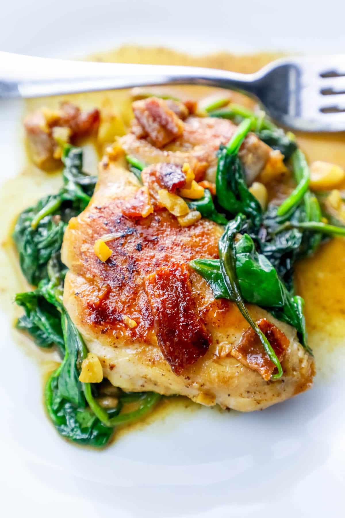 Garlic Chicken Thighs  e Pot Bacon Garlic Chicken and Spinach Dinner