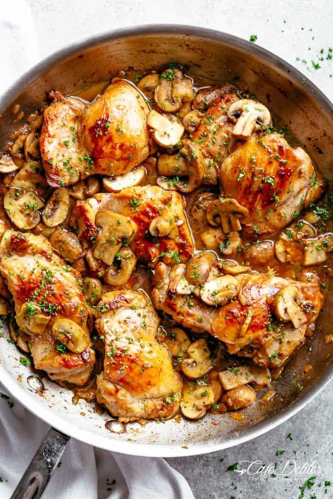 Garlic Chicken Thighs  Garlic Mushroom Chicken Thighs Cafe Delites