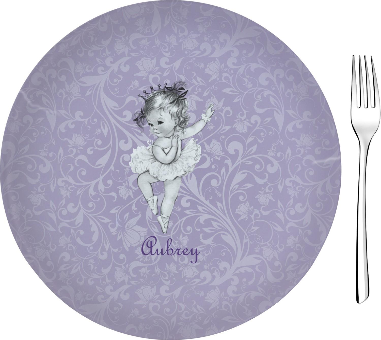 """Glass Dessert Plates  Ballerina Glass Appetizer Dessert Plate 8"""" Personalized"""