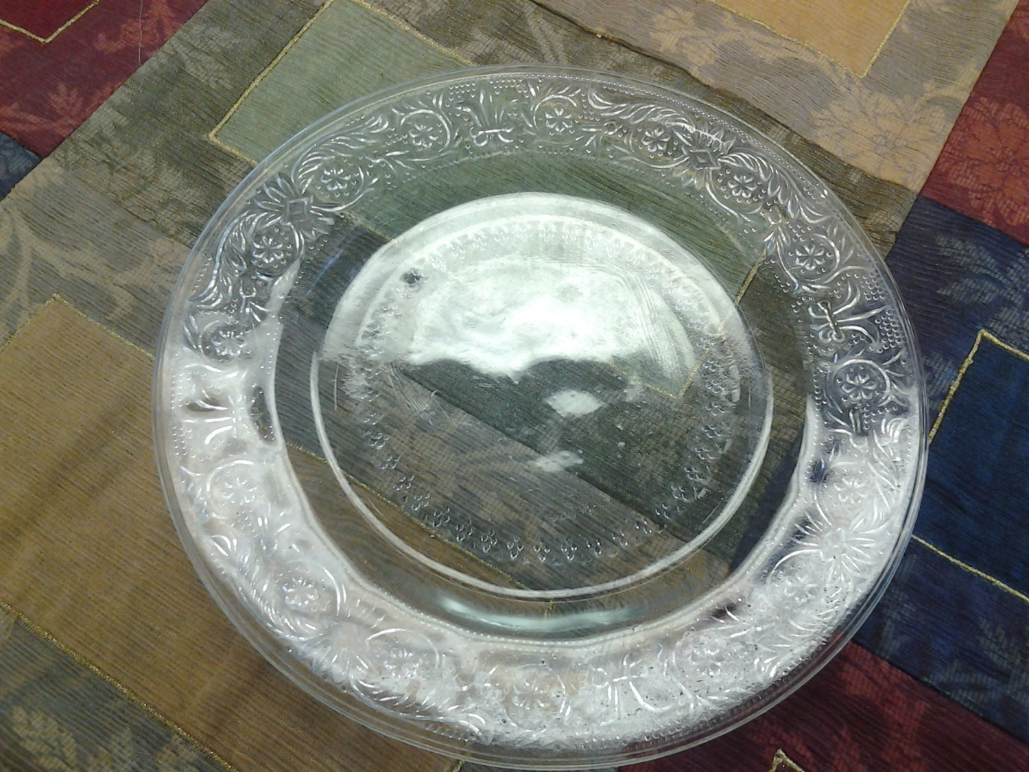 Glass Dessert Plates  Sale Decorative Embossed Clear Glass Salad Dessert Plate