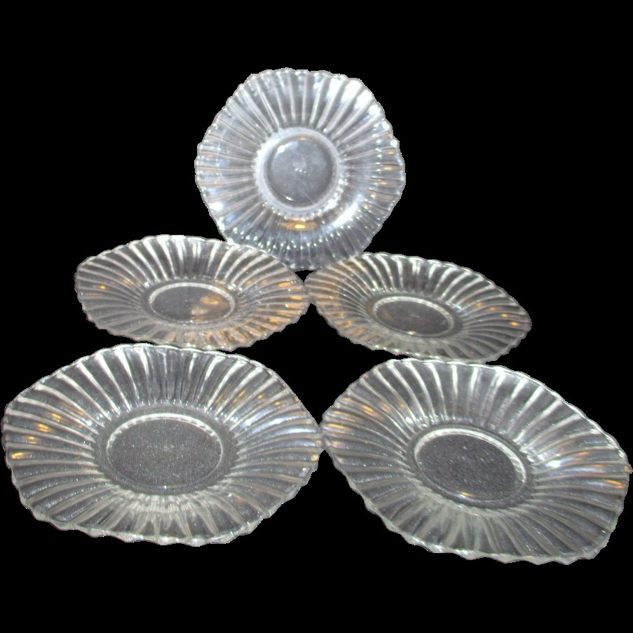 Glass Dessert Plates  Five Heisey Clear Glass Dessert Plates from